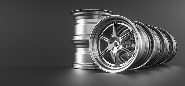 회색 배경에 고립 된 자동차 바퀴 테두리