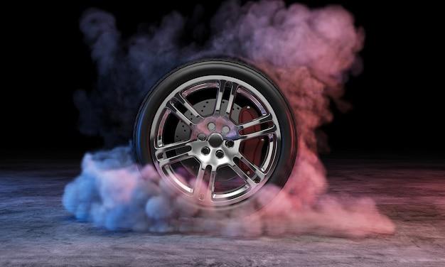 Car wheel in smoke at concrete dark wall