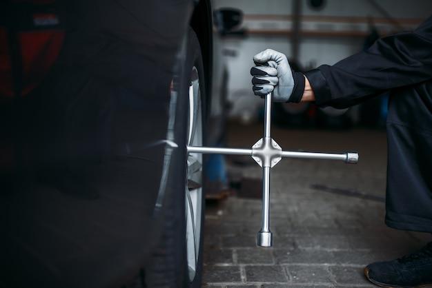 Автомобильное колесо с гаечным ключом, концепция обслуживания шин
