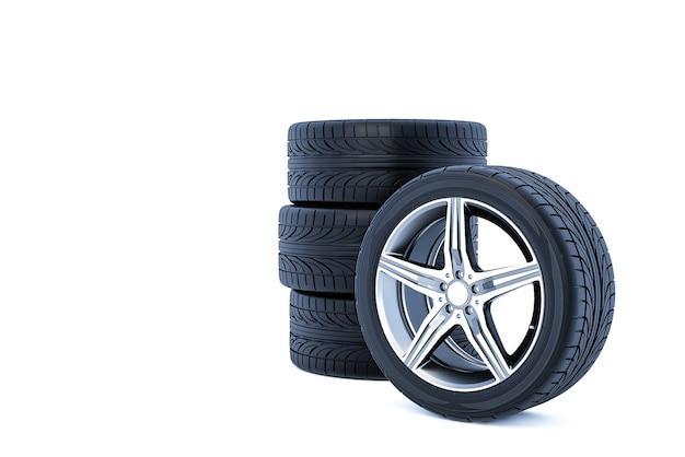 Автомобильные колеса, изолированные на белом фоне 3d-рендеринга
