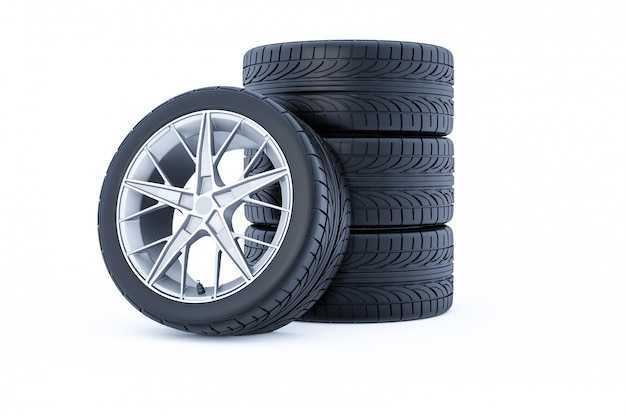 Car wheels isolated on a white background. 3d rendering.