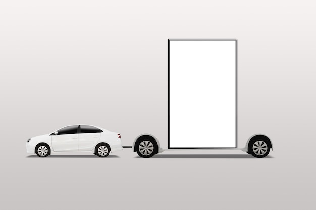 Car with mobile billboard. outdoor advertising, banner. isolated on white background.