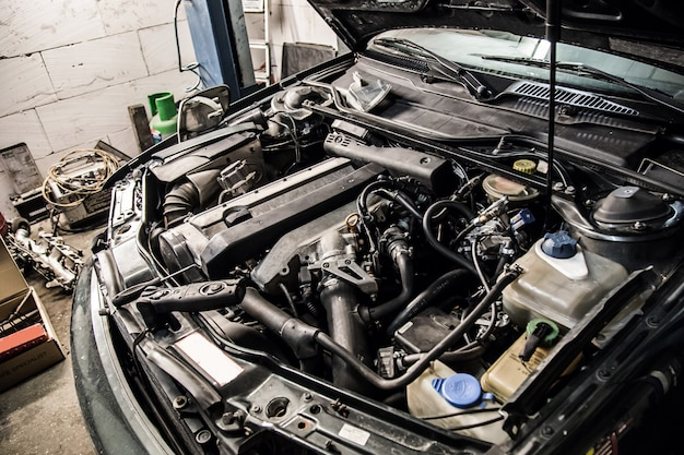 A car with an open hood