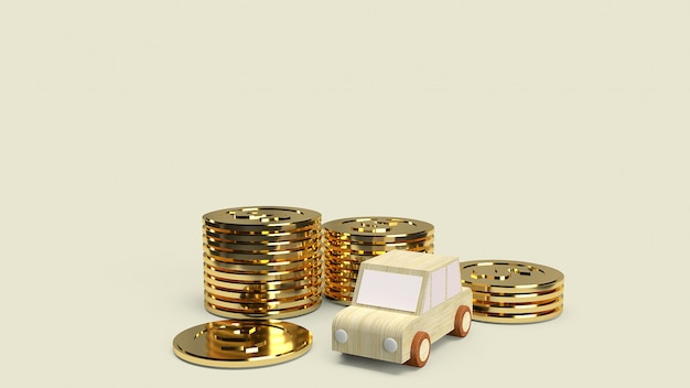 Car wood toy and gold coins for car