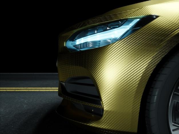 Car wrapped in golden carbon film. 3d rendering Premium Photo