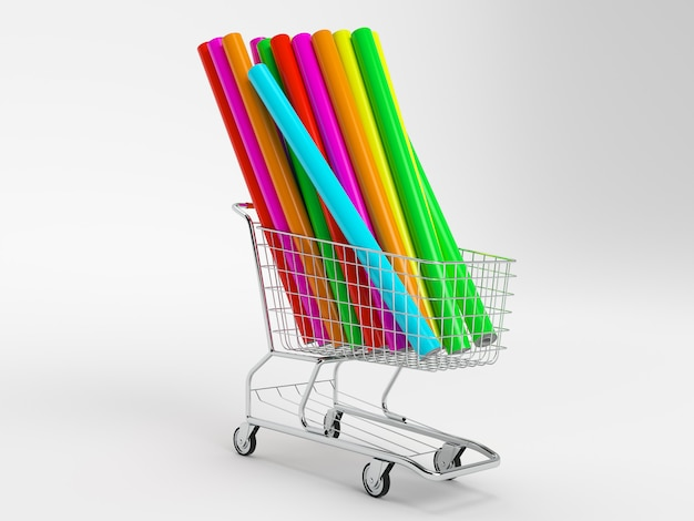 Car wrapping film roll in the shopping cart on the white background