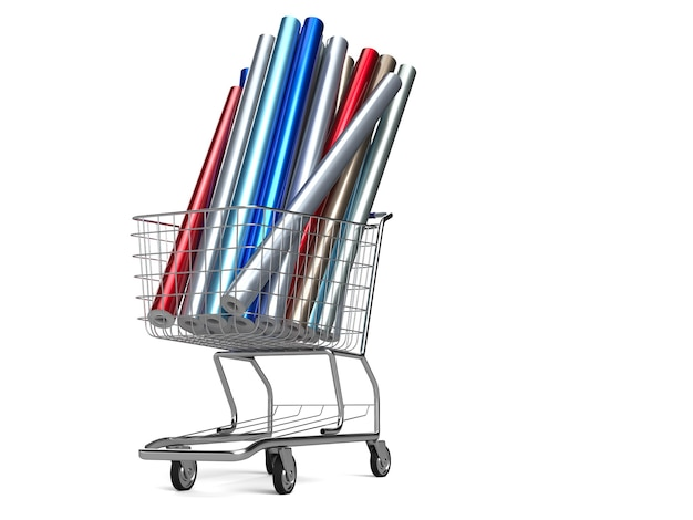 Car wrapping film in shopping cart