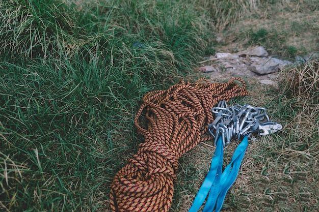 Carabiners and rope on the ground