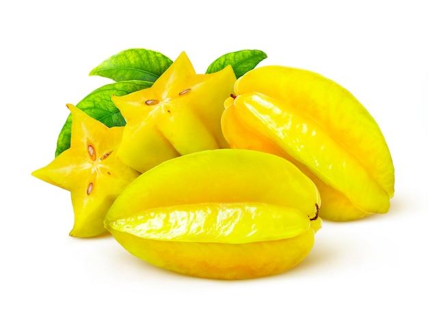 Carambola isolated on white background, starfruits heap
