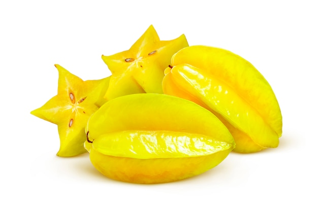 Carambola isolated on white background, starfruits