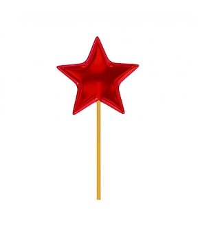 Caramel candy in the form of a five-pointed star of a candy on a wooden stick, red.