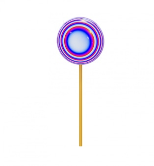 Caramel candy in the form of a round lollipop on a wooden stick, multicolored abstract spirals.