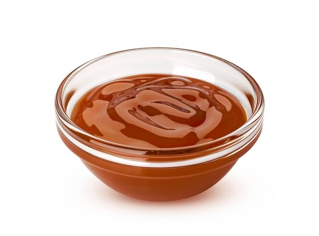 Caramel sauce isolated on white background