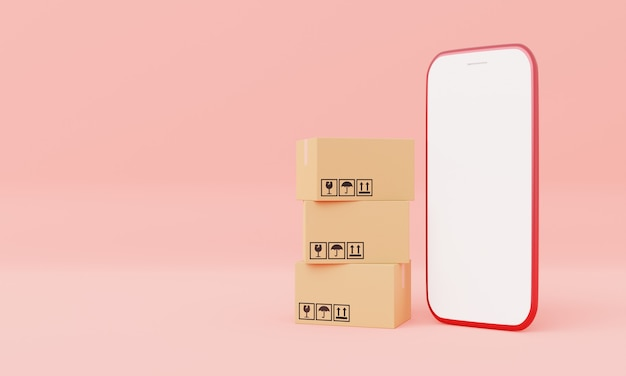 Картонные коробки с изолированным белым экраном смартфона макетом на розовом пастельном фоне. деловая доставка и покупка онлайн концепции. оставайтесь дома, чтобы заказать тематику продукта. визуализация 3d-иллюстраций