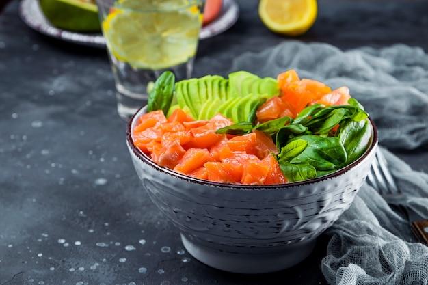 炭水化物を含まないケトダイエットボウル。テーブルの上のボウルにほうれん草、サーモン、アボカド、トマト