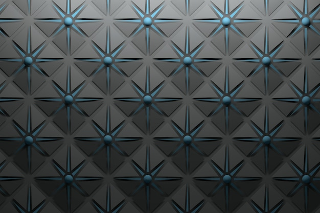 Carbon black grey pattern with repeating pyramidal shapes and dark blue star and spheres