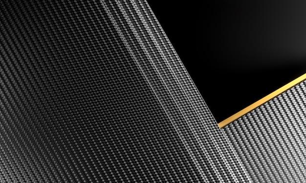 金の要素と炭素繊維の背景。 3dレンダリング