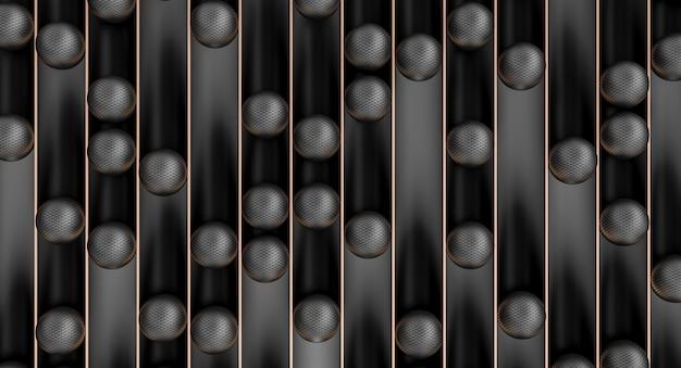 Сферы из углеродного волокна в черных полутрубках с золотыми краями. 3d визуализация