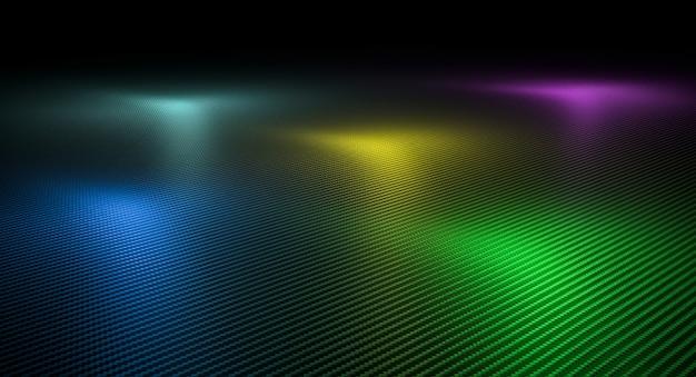 さまざまな色のライトが付いたカーボンファイバーのテクスチャ背景。 3dレンダリング。