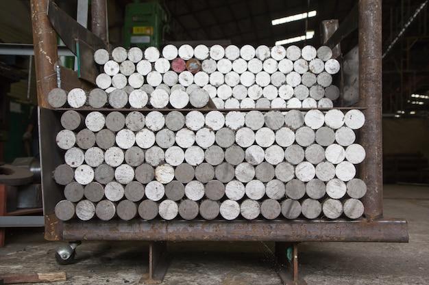 Carbon steel bars deposited in stacks