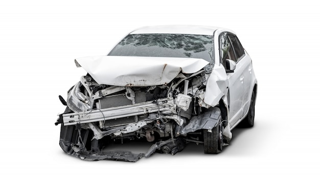 Carcass of crashed car, car insurance