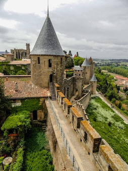 Carcassonne medieval  fortified walls, aude, france