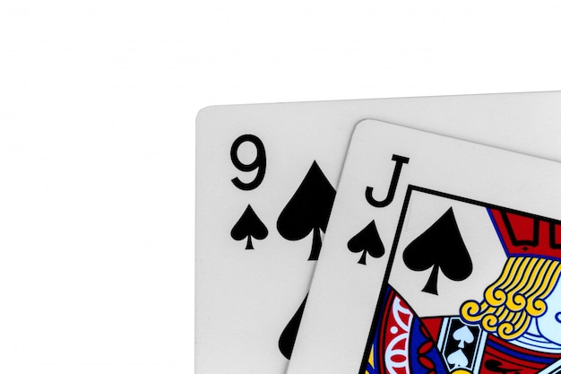 카드 9 j 스페이드 흰색 절연