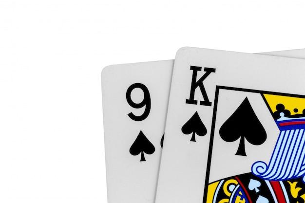 카드 9 k 스페이드 흰색 절연