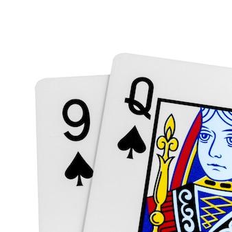 카드 9 q 스페이드 흰색 절연