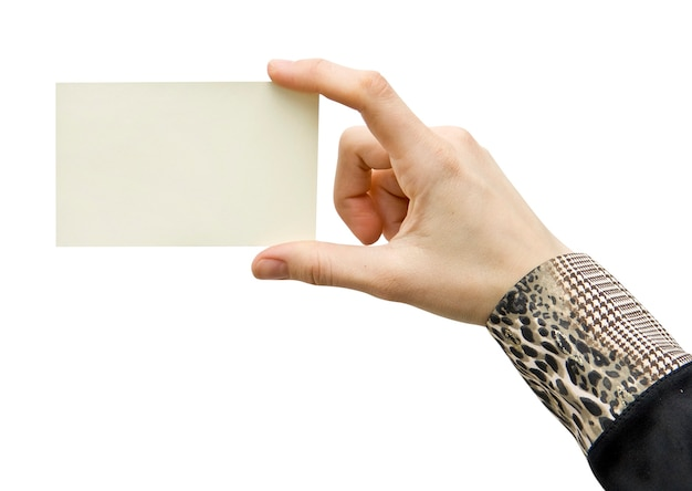A card blank in a hand on the white