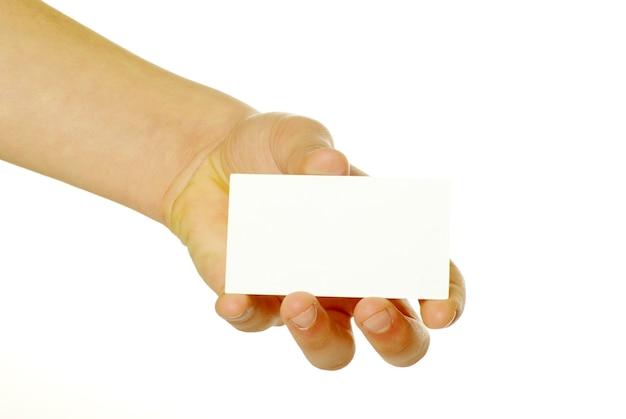 흰색 절연 손에 빈 카드