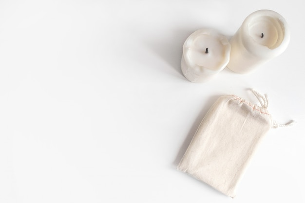 Card deck cotton bag and candles