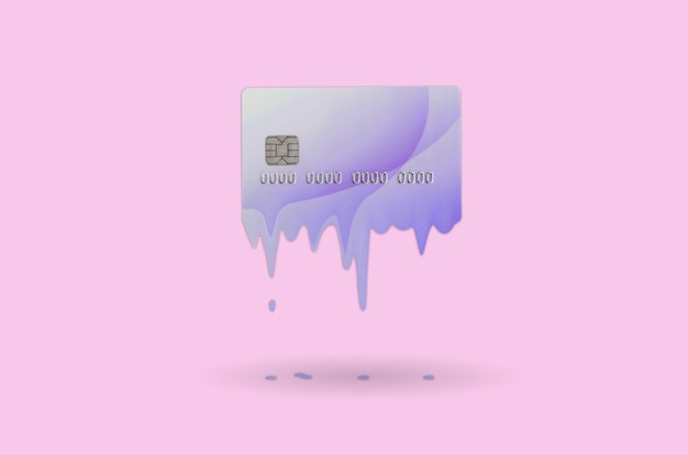 Card expires soon concept. melted credit card