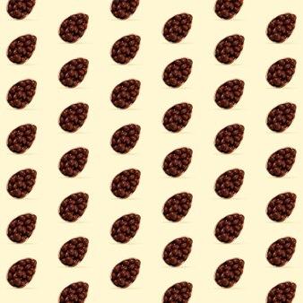 Карта для празднования счастливой пасхи или приветствия. шоколадные яйца на желтом фоне. современные произведения искусства, яркие обои, фон, узор для вашего устройства, дизайн или реклама. концепция. охота за яйцами.