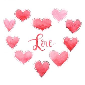バレンタインデー、水彩、愛のカード