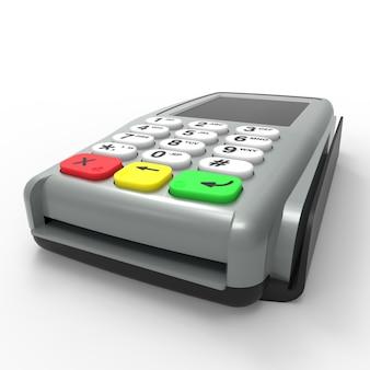 Карточный платежный терминал. pos-терминал изолирован. 3d-рендеринг.