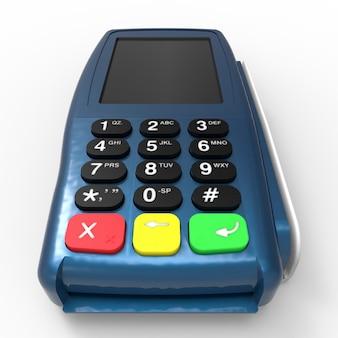 Карточный платежный терминал. pos-терминал на белом фоне