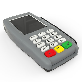 Card payment terminal pos terminal isolated on white