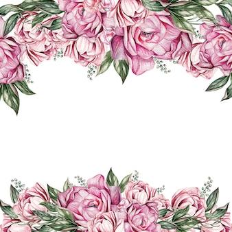 牡丹のカードは、グリーティングカード、結婚式、誕生日、その他の休日や夏の背景の招待状として使用できます。水彩イラストãƒâ¯ã'â¿ã'â¼