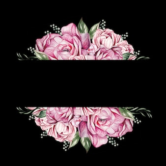 Card with peonies, can be used as greeting card, invitation card for wedding