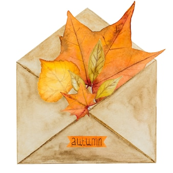 Card with various drawings on the autumn theme