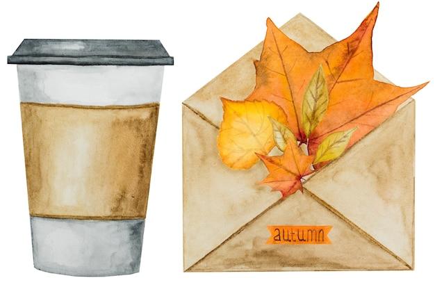 秋をテーマにしたさまざまな絵が描かれたカード