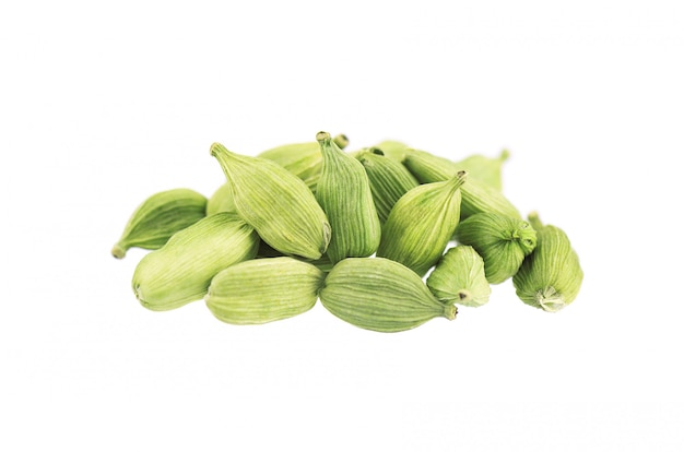 Cardamom pods isolated on white. green cardamon seeds. clipping path.
