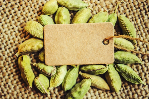 Cardamom and tag. selective focus. food and drink.