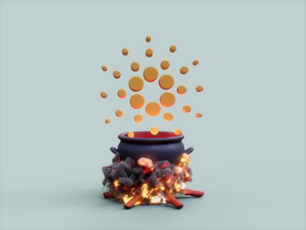 Cardano 가마솥 화재 요리사 암호화 통화 3d 그림 렌더링