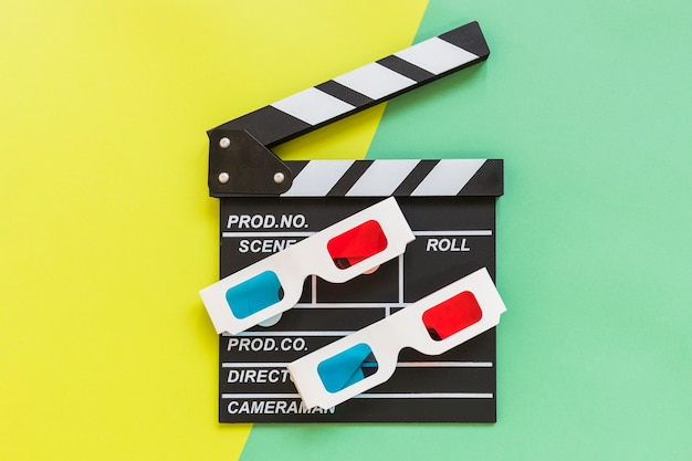 Cardboard 3d glasses on clapboard