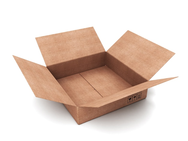 白で隔離の段ボール箱を開く