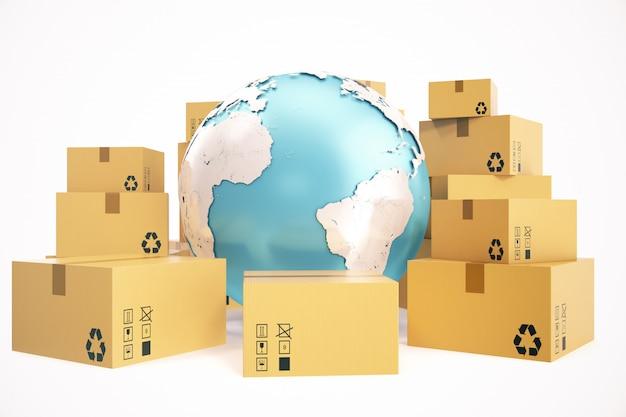 골 판지 상자 운송 및 전세계 배달 사업 개념, 지구 행성 지구. 3d 렌더링. 이 이미지의 요소는 nasa가 제공합니다