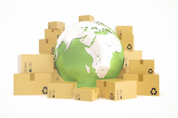 Cardboard box shipping and worldwide delivery business concept, earth planet globe. 3d rendering. elements of this image are furnished by nasa