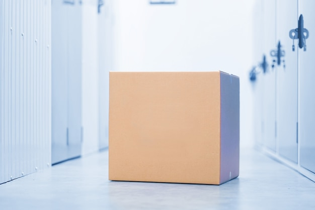 Cardboard box in storage room.